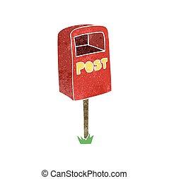 retro cartoon post box - freehand retro cartoon post box