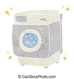 retro cartoon rumbling washing machine - freehand retro...