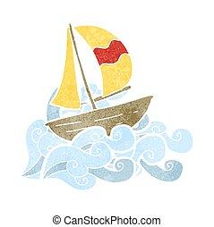 retro cartoon sail ship