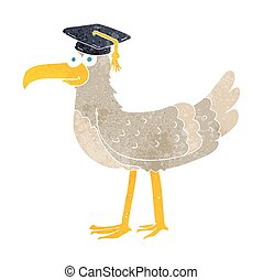 retro cartoon seagull with graduate cap