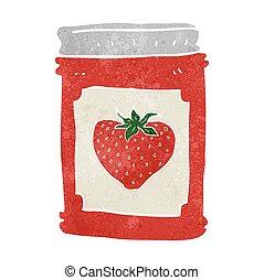 retro cartoon strawberry jam jar