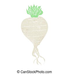 retro cartoon turnip - freehand retro cartoon turnip