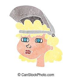 retro cartoon woman with welding mask
