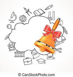 Freehand school illustration. Bell