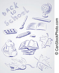 freehand, school, tekening, items