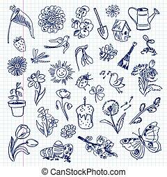 freehand, set, items., tekening, lente