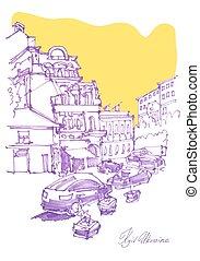 freehand sketch drawing of Podol street in Kyiv Ukraine,...