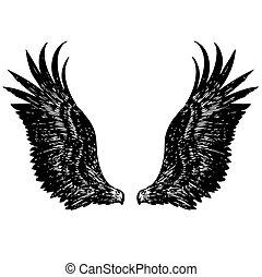 freehand sketch illustration of angel wings, eagle, doodle...