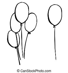 freehand sketch illustration of balloons, doodle hand drawn