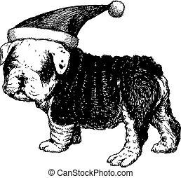 freehand sketch illustration of Bulldog dog with christmas santa hat, doodle hand drawn, christmas pet