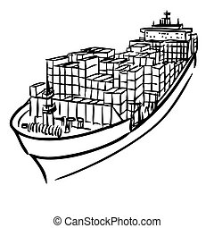 Cargo ship with containers - freehand sketch illustration of...