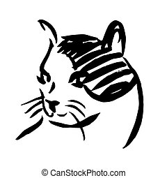 freehand sketch illustration of cat, kitten doodle hand...