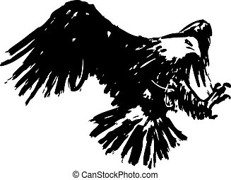 freehand sketch illustration of eagle, hawk bird doodle hand...