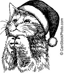 freehand sketch illustration of kitten cat with christmas hat, doodle hand drawn, christmas pet