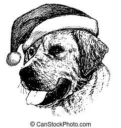 freehand sketch illustration of Labrador Retriever dog with christmas santa hat, doodle hand drawn, christmas pet