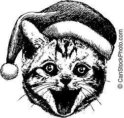 freehand sketch illustration of little cat, kitten with christmas santa hat, doodle hand drawn