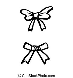 freehand sketch illustration of ribbon bows, doodle hand...