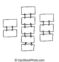 hanging sign boards - freehand sketch illustration of set of...