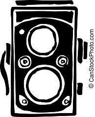 Twin lens reflex camera - freehand sketch illustration of ...