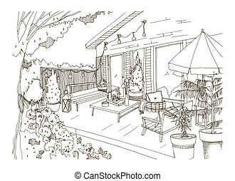 Freehand sketch of backyard patio or terrace furnished in...