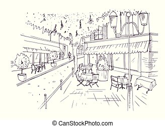 Freehand sketch of European outdoor cafe or coffeehouse with...
