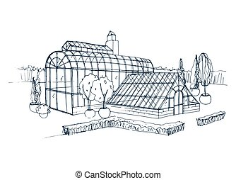 Freehand sketch of exterior of exotic botanical garden surrounded by bushes and trees growing in pots. Rough drawing of facade of glass greenhouse. Monochrome hand drawn vector illustration.