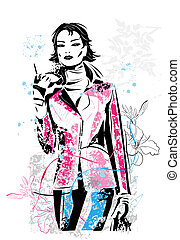freehand sketch of fashionable girl