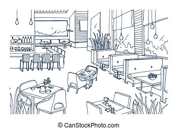 Freehand sketch of furnished interior of fancy restaurant or bistro hand drawn with contour lines on white background. Rough drawing of modern cafe or coffee house. Monochrome vector illustration.