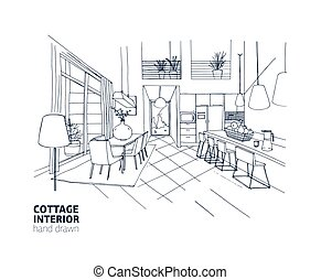 Freehand sketch of mansion or summer cottage interior with...