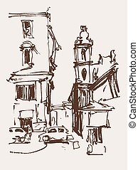 freehand sketch seria drawing of Rome Italy landscape,...