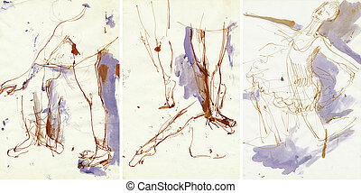 Pictures of the series - Motion exercises in drawing and painting on the theme of ballet. Ballet dancer.