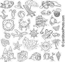 freehand, sommar, teckning, semester