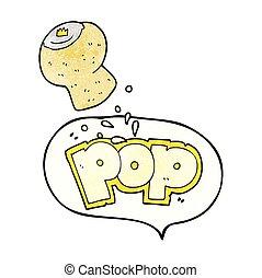 speech bubble textured cartoon champagne cork popping - ...