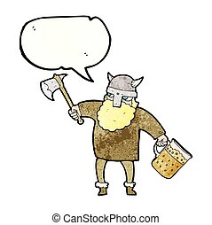 speech bubble textured cartoon drunk viking