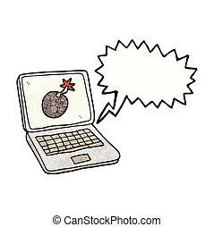 speech bubble textured cartoon laptop computer with error screen