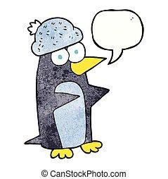 speech bubble textured cartoon penguin