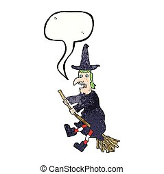 speech bubble textured cartoon witch flying on broom