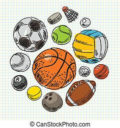 freehand, sport, dessin, balles