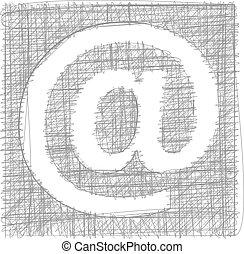freehand, symbol, -, znak