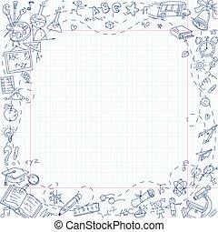 freehand, tekening, school, briefpapier, items, op, blad,...
