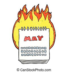 textured cartoon calendar showing month of may