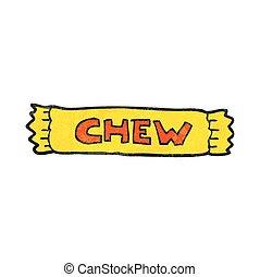 freehand textured cartoon chew
