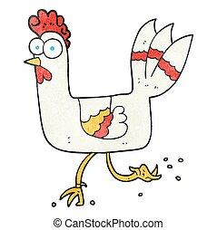 textured cartoon chicken running