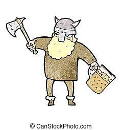 textured cartoon drunk viking