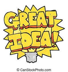 textured cartoon GREAT IDEA! symbol