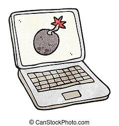 textured cartoon laptop computer with error screen
