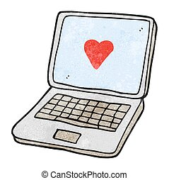 textured cartoon laptop computer with heart symbol on screen