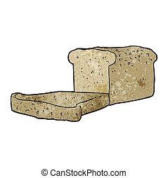 textured cartoon loaf of bread - freehand textured cartoon...