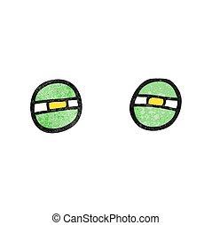 textured cartoon narrowed alien eyes