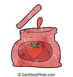 textured cartoon popping jar of jam - freehand textured ...